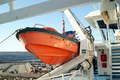 Lancia di salvataggio a bordo del traghetto di Gozo Fotografie Stock