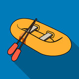 Lancia di salvataggio di gomma arancio La barca, che pesa dai lati di grandi barche per il salvataggio Trasporto dell'acqua e del illustrazione vettoriale
