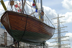 Lancia di salvataggio di una nave alta Fotografie Stock