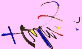 Lanciare i caratteri cinesi in una pittura astratta immagini stock libere da diritti