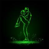 Lanciatore del giocatore di baseball con il vantaggio che si prepara per gettare palla Stile al neon Immagine Stock