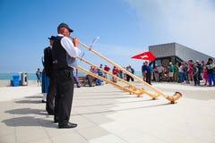 Lanciatore della bandiera dello svizzero Fotografie Stock