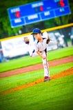 Lanciatore di baseball della piccola lega Fotografia Stock