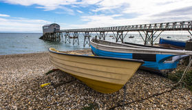 Lancing Life Boat Station. The life boat is secured in the building at the end of a long jetty Stock Photo