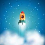 Lancio del razzo di spazio, concetto startup, illustrazione di vettore Immagini Stock