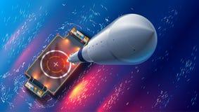 Lancio di Rocket sulla nave autonoma del fuco di spazioporto in mare Vista superiore L'astronave decolla in spazio Cosmodrome di  royalty illustrazione gratis