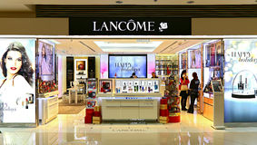 Lancome beauty care products outlet. Collection of lancome beauty skincare, makeup, fragrance and hair care products on display at festival walk shopping mall in Royalty Free Stock Image