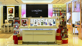 Lancome beauty care products outlet. Collection of lancome beauty skincare, makeup, fragrance and hair care products on display at festival walk shopping mall in Stock Photo