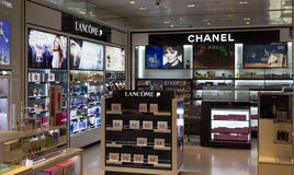 Lancome and Chanel Store Display Royalty Free Stock Photo