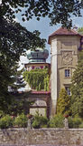 Lancut Castle. View through trees of the 17th century Lancut Castle in Lancut Poland which now houses a museum royalty free stock image