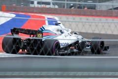 Lancy przespacerowanie Williams Martini Ścigać się Formuła Jeden Sochi Rosja fotografia stock