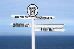 Land's End Signpost. England's most westerly point stock photography