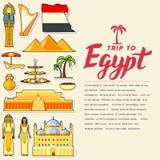 Land-Ägypten-Reiseferienführer von Waren, von Plätzen und von Funktionen Satz Architektur, Leute, Kultur, Ikonen vektor abbildung