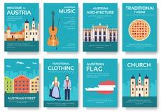 Land-Österreich-Reiseferienführer von Waren, von Plätzen und von Funktionen Satz Architektur, Mode, Leute, Einzelteile, Natur Stockfotos