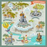 Fantasy land adventure map for cartography with colorful doodle hand draw in illustration. Land adventure map for cartography with colorful doodle hand draw in stock illustration
