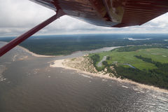 Land air panorama. Land view from plane cabin Stock Photography