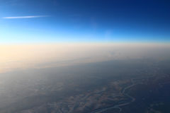 Land with altitude aircraft. Land with altitude airplane somewhere over Russia Royalty Free Stock Photos