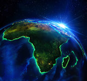 Land area in Africa, the night. Satellite view Stock Photos