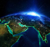 Land area in Arabia and India. Land area in Arabia, and India the night Royalty Free Stock Photography