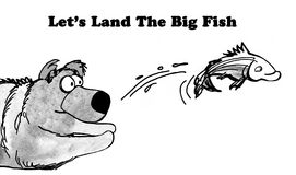 Land the Big Fish. Black and white illustration of a bear trying to catch a fish, 'let's land the big fish Royalty Free Stock Photo