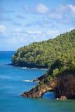 Land bridge, st lucia. Land bridge over ocean on st lucia, caribbean stock images