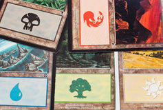 The Land cards of game Magic The Gathering Royalty Free Stock Photography