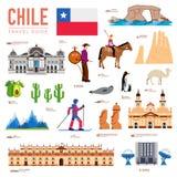 Land-Chile-Reiseferienführer von Waren, von Plätzen und von Funktionen Satz Architektur, Mode, Leute, Einzelteile, Naturhintergru lizenzfreie abbildung