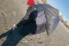 Land cleaning trash on the beach royalty free stock photos