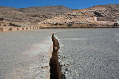 Land crack from the earthquake on the territory of the ruined Persepolis Royalty Free Stock Photography
