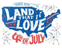 Land dat ik van Vierde van Juli-groetkaart houd stock illustratie