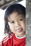 Land Dayak, Borneo. SARAWAK, MALAYSIA - JUNE 3: Unidentified cute young girl of the Land Dayak tribe in Sarawak, Malaysia on June 3, 2010. Land Dayak or Bidayuh royalty free stock photography
