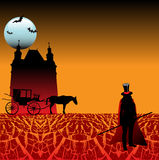Land of Dracula. Abstract colored background with carriage dragged by a horse, castle shape, bats and a black silhouette wearing a hat with a red stripe Stock Image