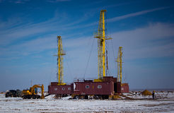 Land drilling rig. Drilling rigs working in the desert Betpakdala Royalty Free Stock Photography