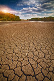 Land with dry and cracked ground Stock Photography