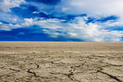 Land with dry and cracked ground. Desert Stock Images