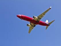 land för flygplaninställningsstråle till Fotografering för Bildbyråer
