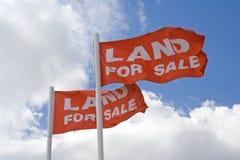 Land für Verkaufs-Markierungsfahnen Stockfotografie