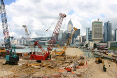 Land fill site - Hong Kong Island royalty free stock photo