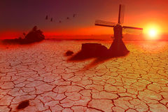 Land gefärbt durch Mangel an Wasser Stockbilder