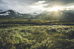 The land of the gods. Sun setting over mountains in Jotunheimen National Park, Norway stock photography