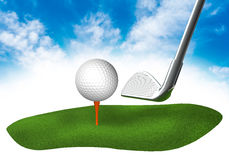 Land with golf in the sky Royalty Free Stock Image