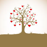Land, grass, tree with hearts Royalty Free Stock Photography