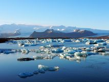 Land of ice. Plenty of ice both in the water and glacier on the mountain Royalty Free Stock Photo