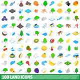 100 land icons set, isometric 3d style. 100 land icons set in isometric 3d style for any design vector illustration Royalty Free Stock Photos