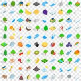 100 land icons set, isometric 3d style Royalty Free Stock Image