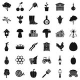 Land icons set, simple style Stock Image