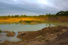 Land and a large pond. Royalty Free Stock Photography