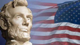 Land of Lincoln. Abraham Lincoln, the sixteenth President of the United States, with the current flag of the United States of America Stock Photo