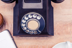 Land line on table. Close-up of old land line on table Stock Image