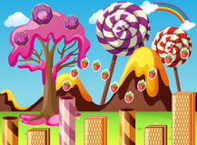 Land with lollipop and donuts. Illustration Stock Image